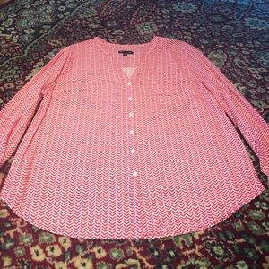 Gap Hot Pink and White Chevron Button Blouse